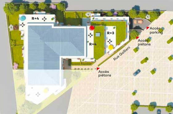 Plan masse le Clos des Fontaines, programme immobilier neuf RUEIL MALMAISON 92 dans les Hauts de Seine
