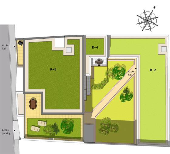 Plan masse Villa Gambetta, programme immobilier neuf HOUILLES 78 dans les Yvelines