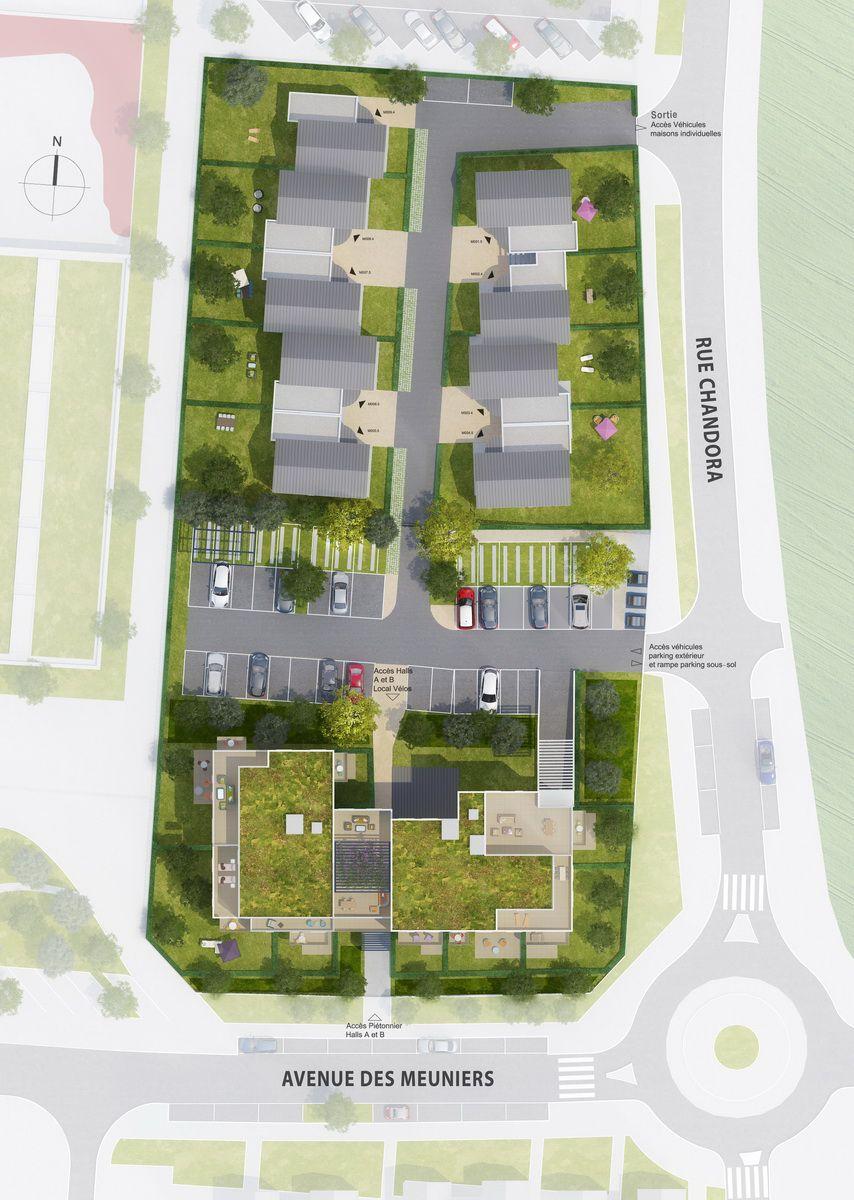 Plan masse Villa Côté Charme, programme immobilier neuf Moissy-Cramayel 77 en Seine-et-Marne